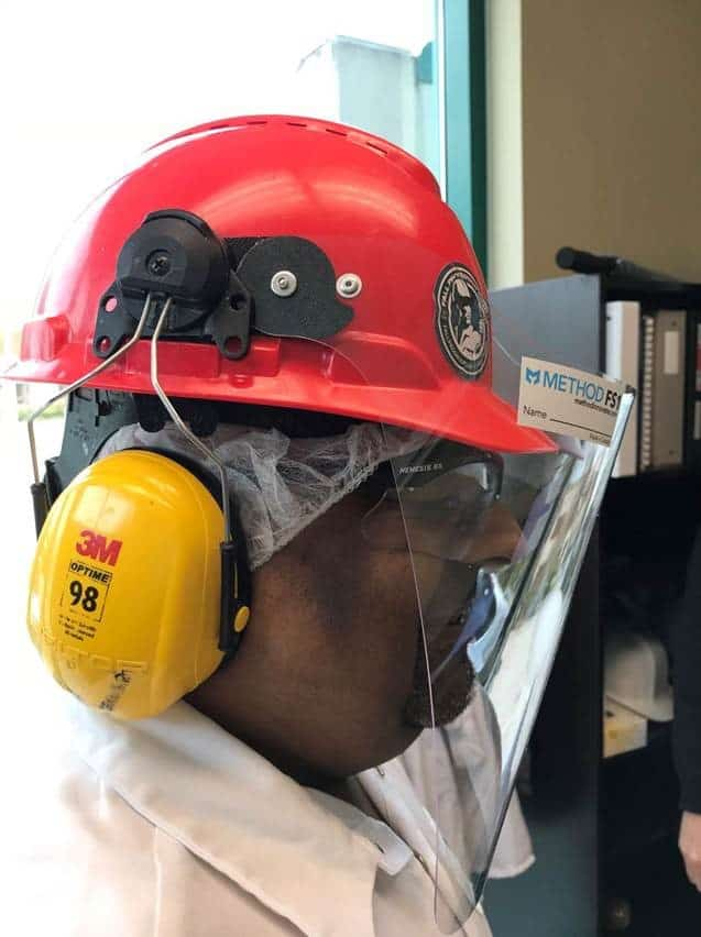 METHOD HH1 Hard Hat Face Shield in use with ear muffs