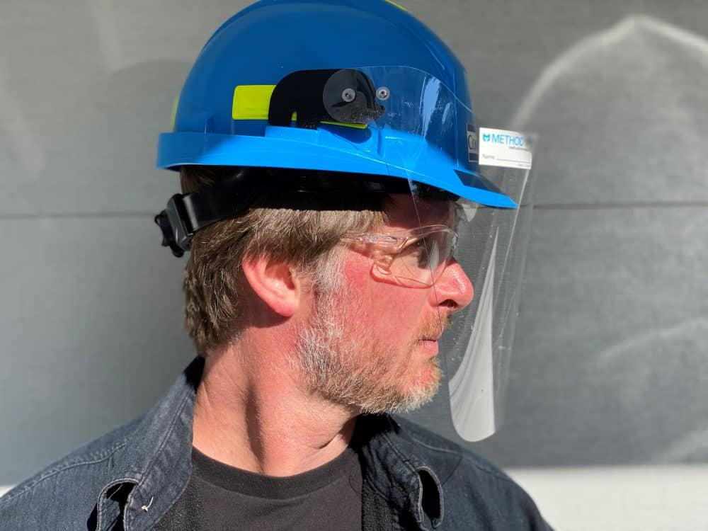 METHOD HH1 Hard Hat Face Shield in use